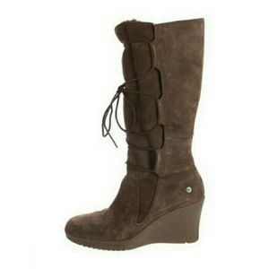 UGG ELSEY BROWN TALL BOOTS ~ LACE UP ~ 9 ~ SUEDE